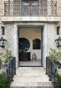 Antique reclaimed and restored limestone entryway Empire style