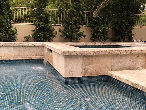 "Antique Stone Pool Coping Slabs Milled at 2.5"" in Thickness Installed in a pool and Jacuzzi in a Custom Home in Newport Beach"