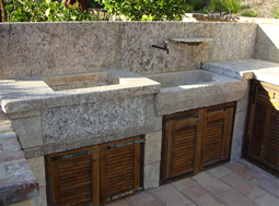 "Antique thick Limestone slabs milled at 3"" in thickness used as landscaping water channel and aqueducting bathroom, salvaged from the bottom of farm house foundations"