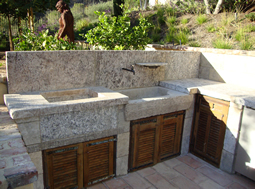 "Antique thick Limestone slabs milled at 3"" in thickness used as landscaping water channelling, Jacuzzi spa coping and aqueducting bathroom, salvaged from the bottom of farm house foundations"