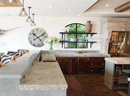 "Antique thick Limestone slabs milled at 3"" in thickness used as kitchen countertops and middle Island tops, salvaged from the bottom of farm house foundations"